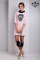 Женское розовое платье с черепом Николет Luzana 42-50 размеры
