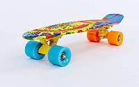 Скейтборд пластиковый Penny с рисунком обеих сторон дека 22in  SUN