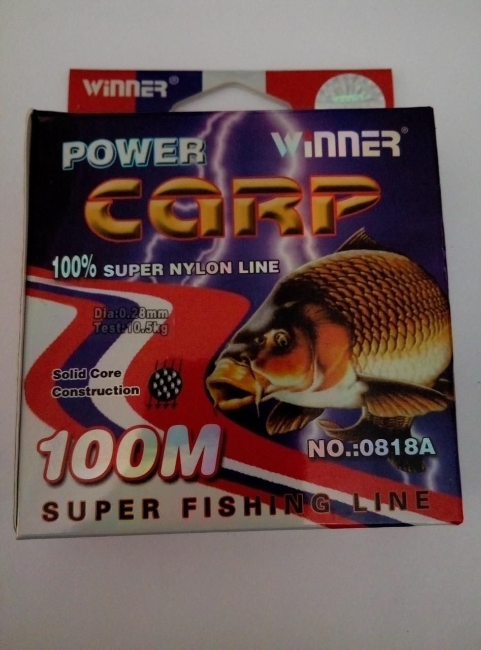 Волосінь POWER Carp Winner-100m/0.28 мм, 10.5 кг