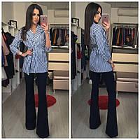 Пиджак женский полоска, ткань джинса, цвет только такой, фото реал ,супер качество аван №136-600