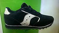 Мужские кроссовки Saucony Jazz черные с белым, нубук