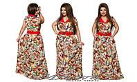 Длинное женское платье штапель в цветы размеры 52-58