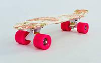 Скейтборд пластиковый Penny с рисунком обеих сторон дека 22in  ROSE