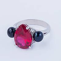 Серебряное кольцо с гидротермальным рубином и черным жемчугом