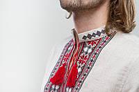 Чоловіча вишиванка Орій червоно-сірий на льоні, фото 1