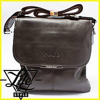 Стильная кожаная мужская сумка Polo (Есть 3 цвета) + Подарок! POLO, Сумка-планшетка/Полевая, Темно-коричневый