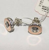 Серьги серебряные с золотом и цирконием Афродита