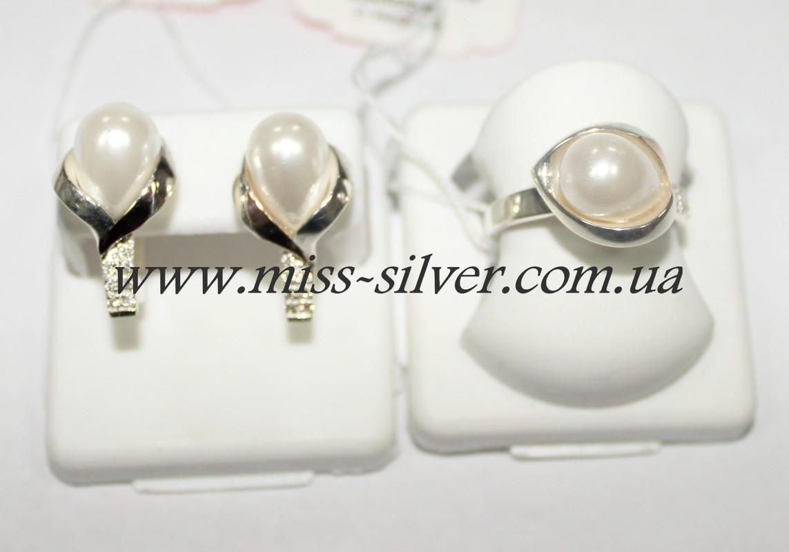 Гарнитур из серебра с жемчугом Виола