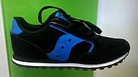 Мужские кроссовки Saucony Jazz черные с синим, нубук