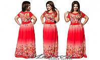 Длинное летнее платье шифон размеры 52-58
