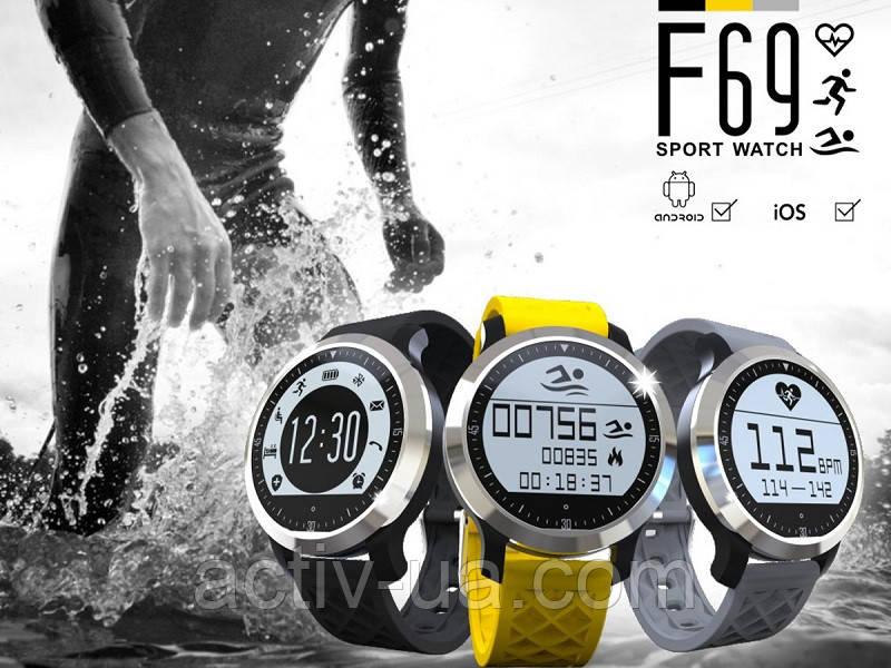 Спортивні розумні годинник Makibes F69 для басейна з пульсометром, крокоміром, трекер сну. Захист IP68