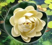Цветок Лотоса декоративный плавающий 10 х10х5 см(водяная лилия)белый