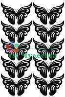 Вырубка из фетра Бабочка  ажурная белая черная