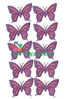 Фигурка из фетра Бабочка ажурная розовый сиреневый, для творчества (вырубка, высечка)