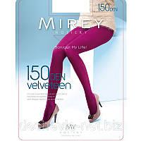 Цветные матовые эластичные безразмерные колготки Mirey из микрофибры c ластовицей и носком 150den velv150