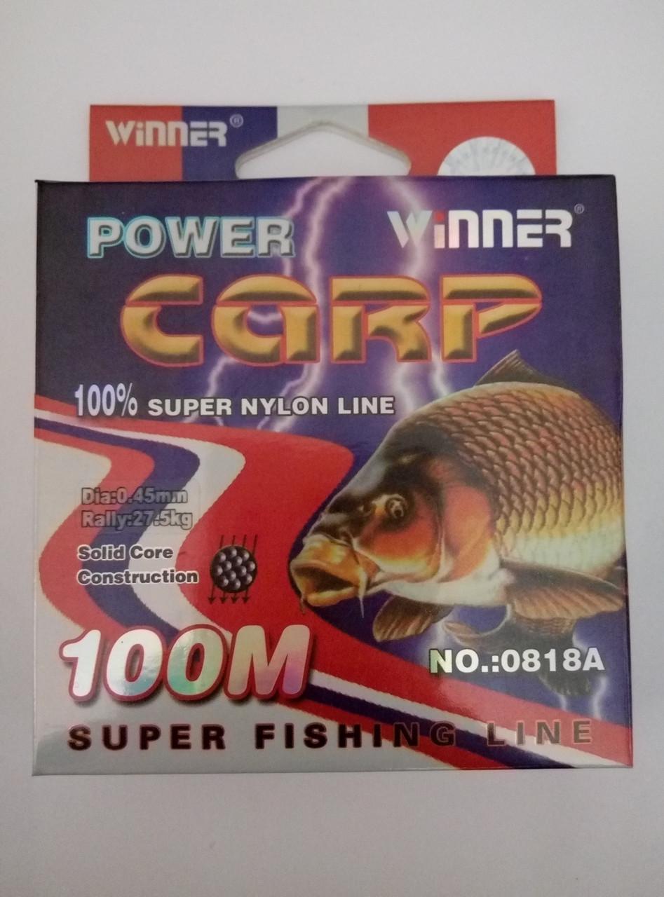 Волосінь POWER Carp Winner-100m/0.45 mm 27.5 кг