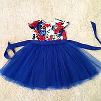 Нарядное  платье на девочку электрик
