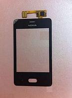 Тачскрин / сенсор (сенсорное стекло) для Nokia Asha 501 (черный цвет)