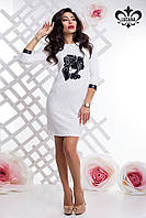 Теплое женское платье Эльсанта молоко Luzana 44-50 размеры