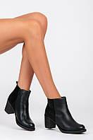 Женские ботинки черные на толстом каблуке