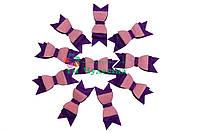 Вырубка из фетра бант двойной фиолетовый розовый