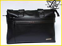 Большая деловая мужская сумка-портфель Polo Есть 2 цвета! Коричневый