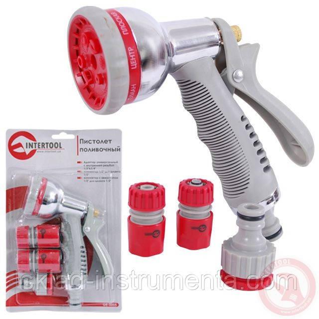 Пистолет-распылитель для полива хромированный 8-ми функциональный (центральный, туман, душ, угловой, полный,..