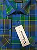 Рубашка молодежная сине-зеленая клетка, с двумя карманами