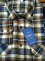 Рубашка молодежная сине-коричневая клетка, с двумя карманами