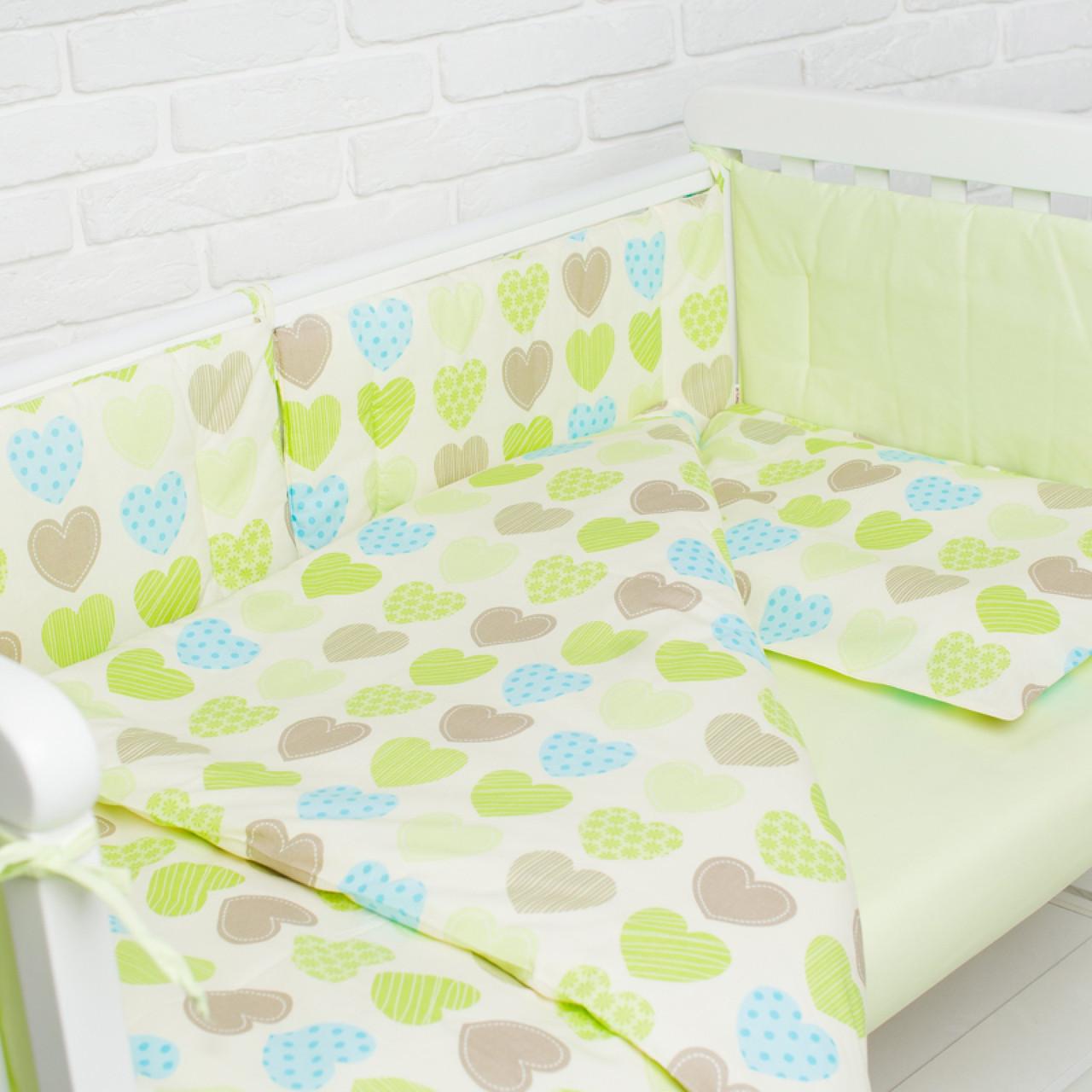 Комплект білизни в дитяче ліжечко (Салатові сердечка)