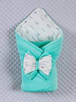 """Велюровый конверт-одеяло на выписку из роддома """"Маленькие стиляжки""""  мятный (весна/осень)"""