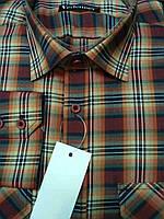 Рубашка молодежная коричнево-рыжая клетка, с двумя карманами