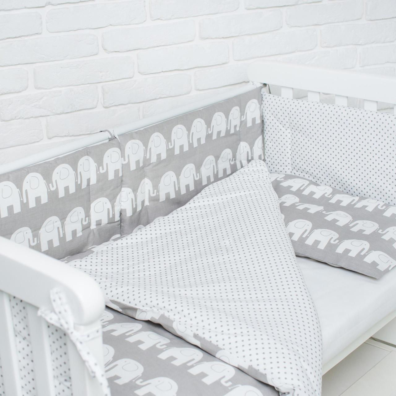 Комплект білизни в дитяче ліжечко (Слоники)