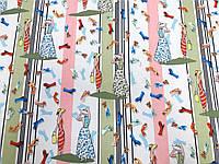 Вискоза под лен Гламур (полоса розовый, фисташка) стрейч (арт. 14106)