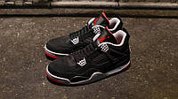 Мужские баскетбольные кроссовкиNike Air Jordan IV Retro Black cement (найк аир джордан)