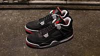 Мужские баскетбольные кроссовкиNike Air Jordan IV Retro Black cement (в стиле найк аир джордан)