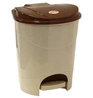 Ведро для мусора 19 л с педалью беж. мрамор, TM Idea 2892