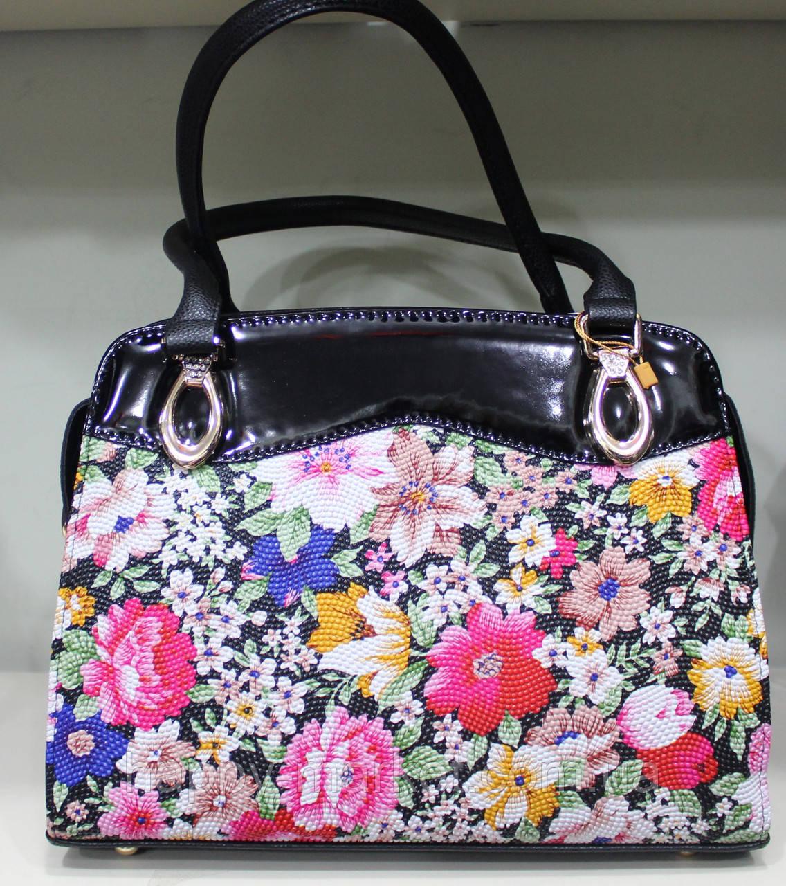 Сумка женская классическая каркасная Цветы LUCK SHERRYS 17-54-15-7 -  Интернет daa93ab7bcc