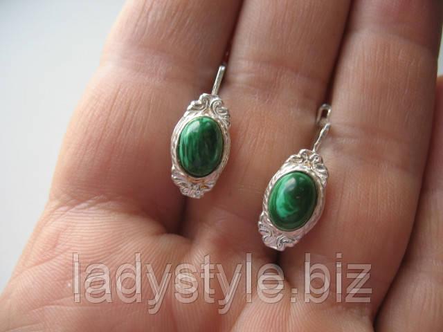 купить украшения серьги кольцо с малахитом
