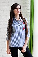 Женская модная рубашка с нашивкой из хлопка