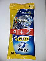 Бритвы Одноразовые станки для бритья BIC 3 Флекс 4+2шт       сине-желт