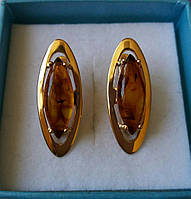 Серьги золотые с янтарем
