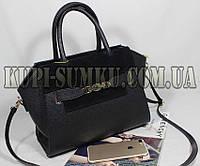 Черная модня деловая сумка со вставками из натуральной замши