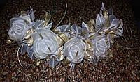 Свадебная веточка для прически невесты (бело-золотистая)