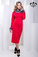 Элегантное женское красное платье Бриони Luzana 44-52 размеры