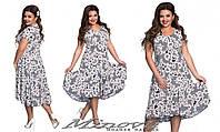 """Летнее женское платье """"Мила"""" короткий рукав ткань масло-пена в цветы размеры 52-64"""