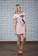 Ночная женская сорочка с печатью персик