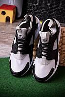 Мужские кроссовки серые с черным текстиль и эко-кожа