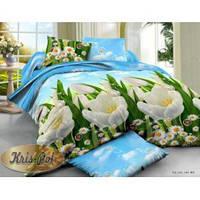 Натуральное постельное белье полуторное с тюльпанами