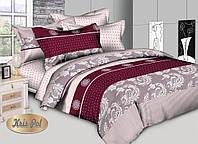 Натуральное постельное белье полуторное абстракция бордо